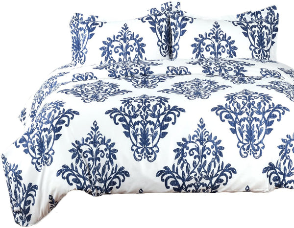 Bedsure Printed Damask Pattern Duvet Cover Set with Zipper Closure Victoria Blue Modern Full/Queen (90x90 inches)-3 Pieces (1 Duvet Cover + 2 Pillow Shams) Ultra Soft Hypoallergenic Microfiber