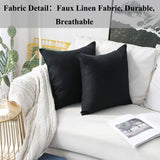 Home Brilliant Set of 2 Decorative Lined Linen Euro Shams Couch Throw Pillows Large Pillow Covers, 24x24 inch(60x60cm), Black
