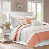 Madison Park MP13-2800 Dawn 6 Piece Cotton Percale Quilted Coverlet Set, Coral