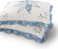 KASENTEX Luxurious Quilted Embroidery Patchwork Sham Pre-Washed 100% Machine Washable(Blue, 26x20in, 2 Pieces)