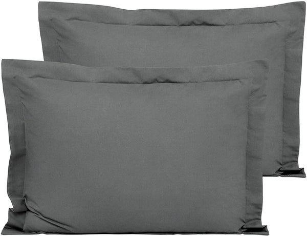 "FLXXIE 2 Pack Microfiber Standard Pillow Shams, Ultra Soft and Premium Quality, 20"" x 26"" (Dark Grey, Standard)"