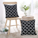 Deconovo Decorative Square Cushion Covers with Invisible Zipper Square Handmade Cotton Pillow Cases with Morocco Patterns 18x18 Inch Black and White Pack of 2