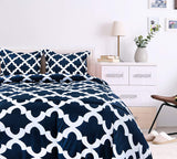 Utopia Bedding Printed Comforter Set (Queen, Navy) with 2 Pillow Shams - Luxurious Brushed Microfiber - Down Alternative Comforter - Soft and Comfortable - Machine Washable