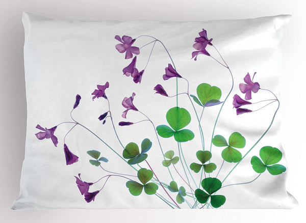 "Lunarable Flower Pillow Sham, Springtime Garden Wildflowers and Clovers Modern Floral Theme Graphic Print, Decorative Standard King Size Printed Pillowcase, 36"" X 20"", Purple White"
