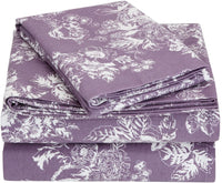 Pinzon 170 Gram Flannel Cotton Pillowcases, Set of 2, King, Floral Grey