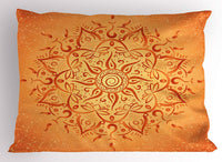 "Ambesonne Lotus Pillow Sham, Sun Pattern with Ombre Effect Mandala Culture Print, Decorative Standard King Size Printed Pillowcase, 36"" X 20"", Orange"