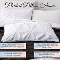 Pinch Pleated Standard Pillow Shams Set of 2 White - 500 Thread Count 100% Soft Natural Cotton White Standard Shams 20X26 Pinch Pillow Cover Hotel Class Stich Decorative Standard Size Bed Pillow Shams