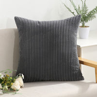 Miaote Pack of 2 Decorative Throw Pillow Covers Cases for Couch Bed Sofa,Striped Corduroy Velvet Cushion Covers for Baby, 26 X 26 Inches,Dark Grey