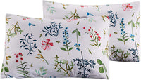 Carisder Floral Pillowcases 2 Packs, Stardard Size 100% Brushed Microfiber Ultra Soft Pillow Lightweight Covers Envelope Closure End (Twin/Queen, Floral)