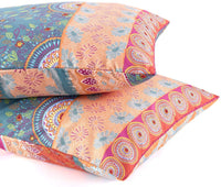 Wake In Cloud - Pack of 2 Pillow Cases, Soft Microfiber Pillowcases, Orange Coral Bohemian Boho Chic Printed (Standard Size, 20x26 Inches)
