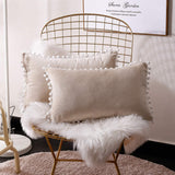 Lihio Throw Pillows Covers Decorative with Pom Poms Cushion Covers Velvet Rectangle Solid Color Soft Sofa Chair Home Set of 2,12x20 Inch Beige