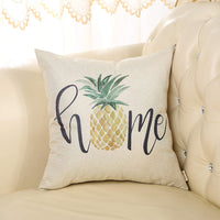 "Fjfz Rustic Farmhouse Style Retro Pineapple Home Décor Spring Summer Sign Family Decoration Gift Cotton Linen Home Decorative Throw Pillow Case Cushion Cover with Words for Sofa Couch, 18"" x18"""