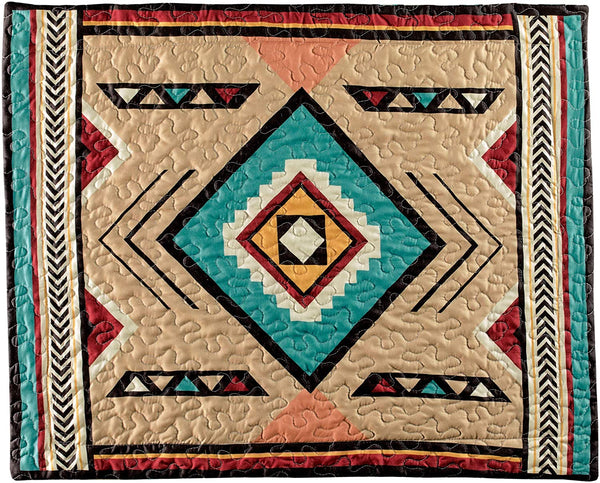 "Rustic Southwest Style Aztec Print Pattern Pillow Sham - Fits Standard Size Pillows. 26"" x 20"" - Machine Washable - All Seasons Bedroom Decor"