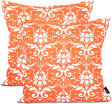 ARRIBA, Floral Damask Ikat Lattice Pattern, (Pack of 2 Pcs_22x22 Inches or 55x55 Cms_Orange & White), Double Side Printed Decorative 100% Cotton Accent Canvas Throw Pillow Cases-Cushions Covers.