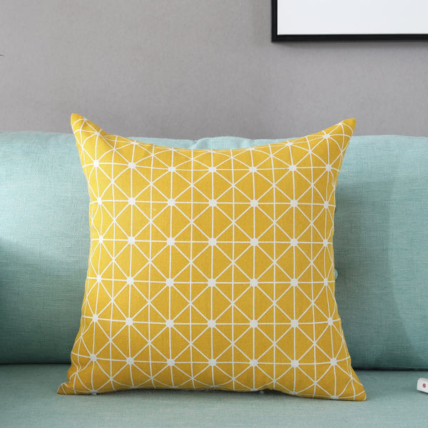 TAOSON Yellow Lattice Geometry Pattern Cotton Flax Soft Home Decorative Throw Cushion Cover Pillow Cover Pillowcase with Hidden Zipper Closure Only Cover No Insert 20x20 Inch 50x50cm
