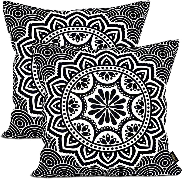 ARRIBA, Tribal Floral Mandala Pattern, (Pack of 2 Pcs_24x24 Inches or 60x60 Cms_Dark Jet Black & White), Double Side Printed Decorative 100% Cotton Accent Canvas Throw Pillow Cases-Cushions Covers.