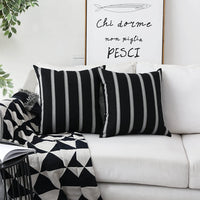 Home Brilliant Classic Black White Stripes Lace Throw Pillow Covers Decorative Euro Shams, 2 Packs, 24x24 inches(60cm), Black