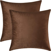 Mixhug Set of 2 Cozy Velvet Square Decorative Throw Pillow Covers for Couch and Bed, Coffee Brown, 18 x 18 Inches
