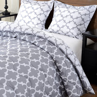 downluxe Lightweight Down Alternative Reversible 3-Piece Comforter Set with 2 Reversible Pillow Shams,Grey, Full/Queen