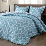 downluxe Lightweight Solid Comforter Set (Queen) with 2 Pillow Shams - 3-Piece Set - Blue and Sapphire - Down Alternative Reversible Comforter