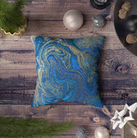 ROOLAYS Decorative Throw Square Pillow Case Cover 16X16Inch,Cotton Cushion Covers Blue and Gold Liquid Texture Hand Drawn marbling Both Sides Printing Invisible Zipper Home Sofa Decor Pillowcase