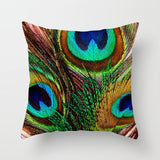 Peacock Feather Animal Pattern Throw Decorative Pillow Case Bird Flowers Printing Peach Skin Velvet Cushion Cover 45cmx45cm