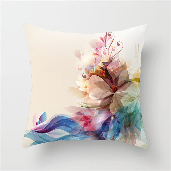 Fuwatacchi Flower Pattern Cushion Cover Hazy Style Flowers Pattern Pillowcase Waist Throw Pillows Cover Home Decor