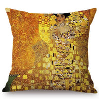 2018 New Gustav Klimt Painting Cushion Cover Gold Pattern Print Pillow Case Linen Cotton Throw Pillow Cover Decorative For Home