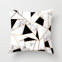 Fuwatacchi Geometric Cushion Cover Black White Pattern Throw Pillow Cover Marble Pattern Pillowcases 45X45 Square