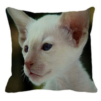 XUNYU Siamese Cat Pattern Linen Pillow Case Sofa Square Decorative Pillow Cover Animal Cushion Cover 45X45cm AC009