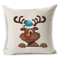 1Pcs 43*43cm Christmas Tree Deer Pattern Cotton Linen Throw Pillow Cushion Cover Car Home Sofa Decorative Pillowcase 40478