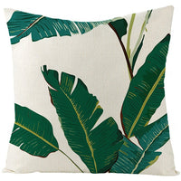 Fuwatacchi Linen Plant Cushion Cover Palm Leaves Trees Throw Pillow Cover Green Tropical Plant Pattern Square Linen Pillowcases