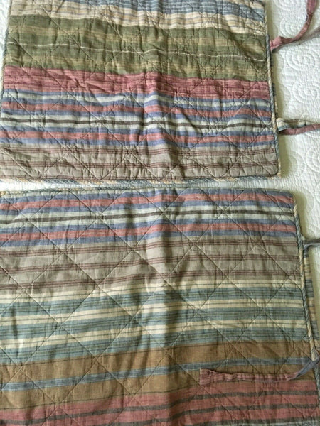 POTTERY BARN Multi Striped Quilted Standard SHAMS Set of 2 Cottage Beach Ticking