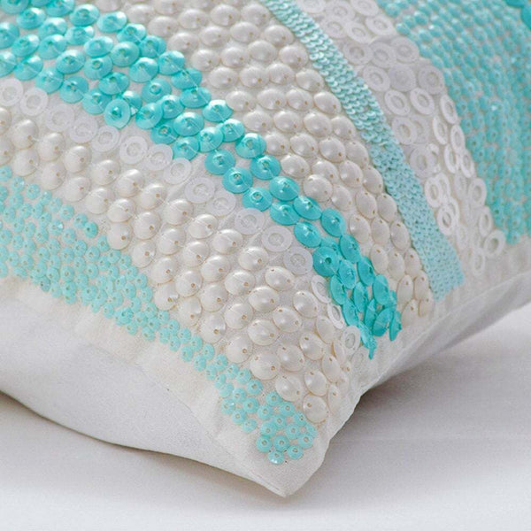 12x12 in Aqua Blue Decorative Accent Pillow Cover Silk, Swirls - Frozen In Time