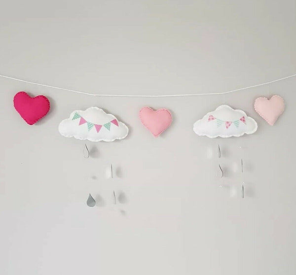 Felt Cloud Heart Mirror Acrylic Raindrops Wall Decoration Baby Nursery Playroom