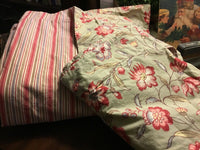 (2) Pottery Barn-Shams-(1) Standard/(1) European-Red/Green Floral Pattern-Cotton