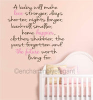 A Baby Will Make Love Stronger Vinyl Decal Wall Stickers Nursery Room Decor