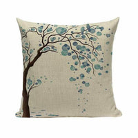 Large tree Ink blue leaves Cotton Linen Throw Pillow Case Cushion Cover