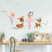 Dancing Girl Sika Deer Wall Stickers Baby Nursery Decor Decal Art Mural Gift