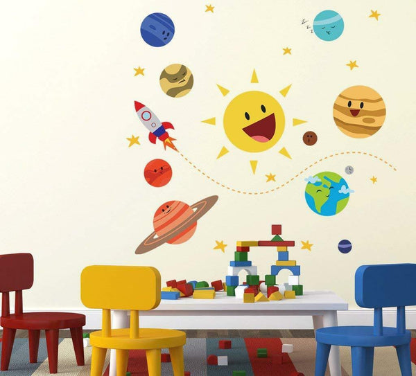 Happy Planets Vinyl Kids Baby Home Decor Mural Wall Stickers Decal Removable