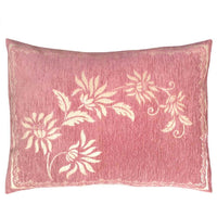 2 pcs Chenille Pink (Cream Mum Flowers) 22x30 Queen Size Deco Pillow Cover Sham