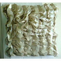 16x16 inch Pillow Decorative Satin Cream Beige - Vintage Butterscotch Ribbon