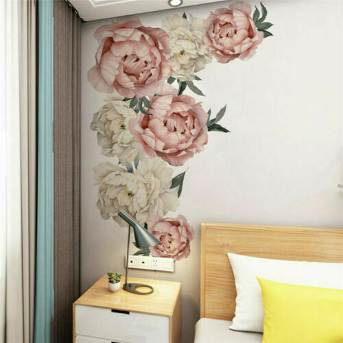 Decal Kids Wall Stickers Pink Peony Flower Baby Nursery Mural Decor