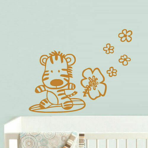 Wall Decal Vinyl Sticker Decor Nursery Kids Baby Lion Tiger Flowers (Z727)