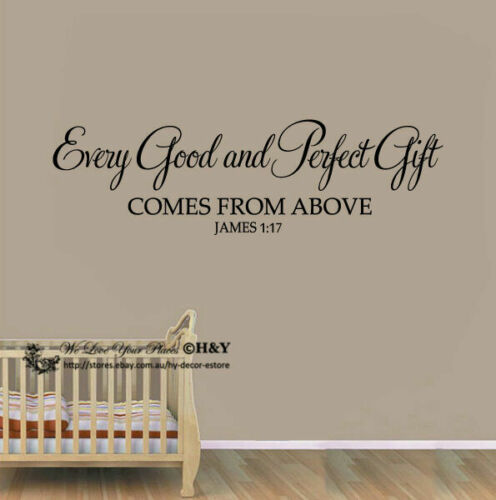 """Every Good and Perfect Gift"" Wall Art Quotes Baby Nursery Decor Stickers Vinyl"