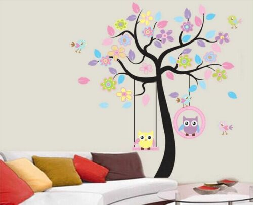 Decals Decor Art Home Removable Owl Mural Wall Stickers Kid Baby Nursery Tree