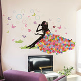 Princess Butterfly Bubbles Vinyl Wall Decal Nursery Baby Room Decor Art Sticker