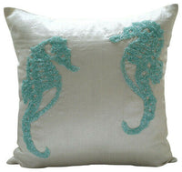 16x16 inch White Pillow Cover Decorative, Silk Sea - Sea Horse Aqua