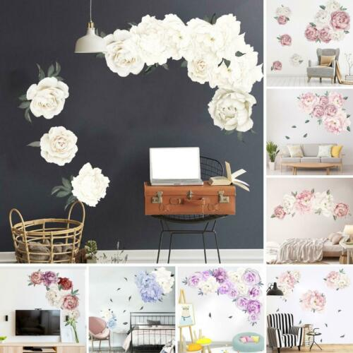 HD_ PVC Peony Flower Wall Stickers Kids Baby Nursery Decor Mural Decals Top Eyef