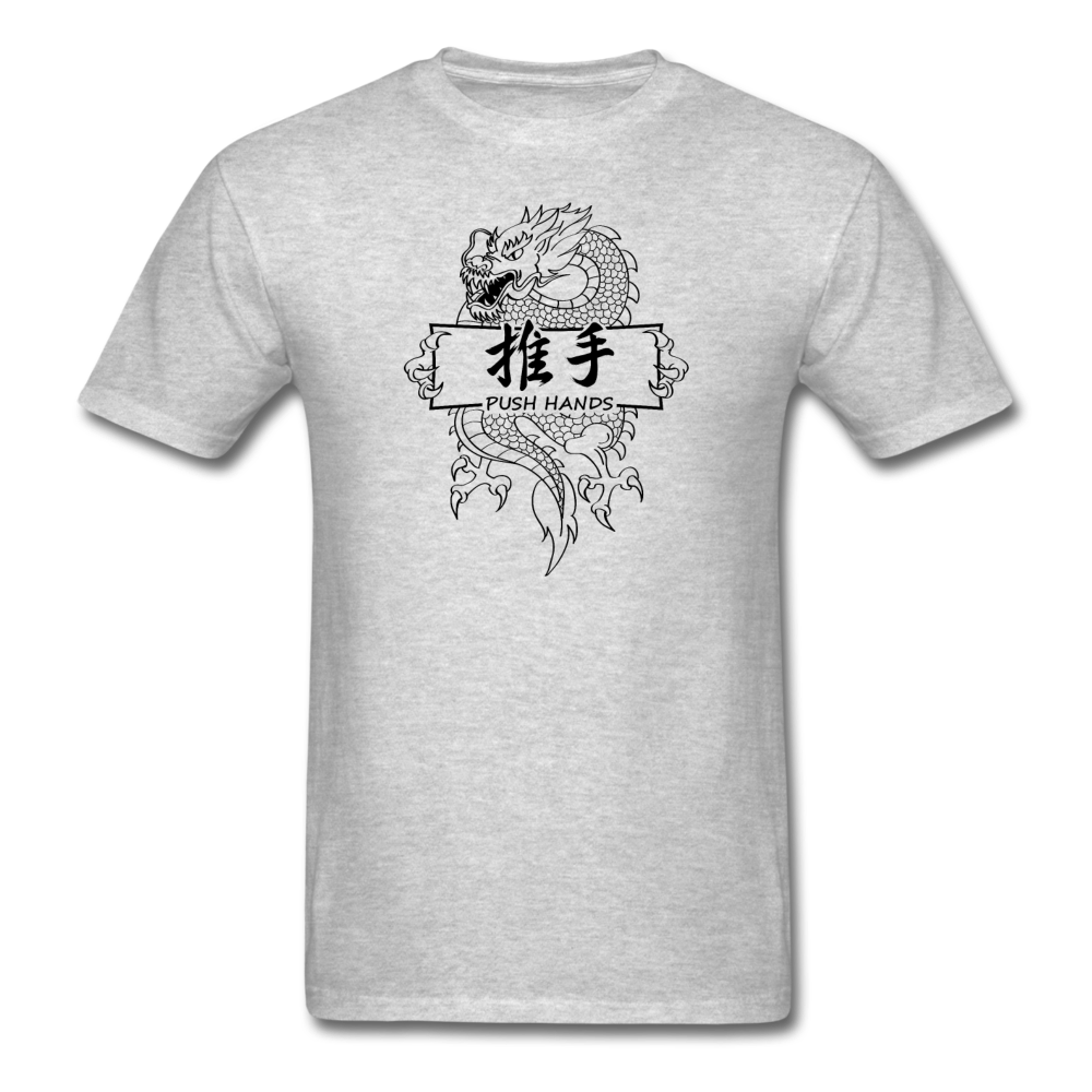 Dragon Push Hands T Shirt - heather gray